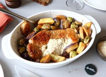 Porc à la crème moutardée et légumes rôtis