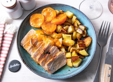 Rôti de porc fermier aux abricots, miel et romarin