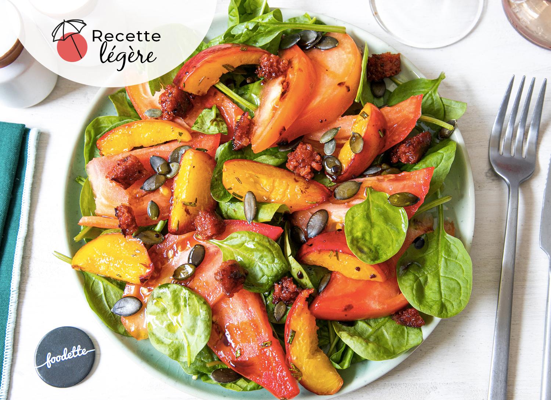La rougeoyante : tomates, nectarines rôties et chorizo grillé