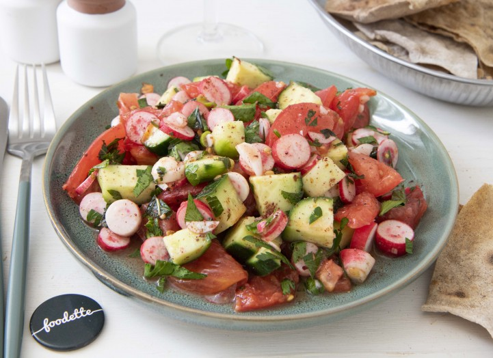 Salade Fattouche et pitas maison