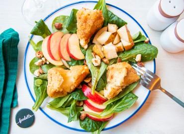 La Normande : mâche, pomme/poire et camembert pané