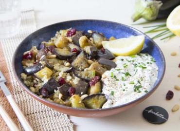 Salade orientale aux aubergines grillées