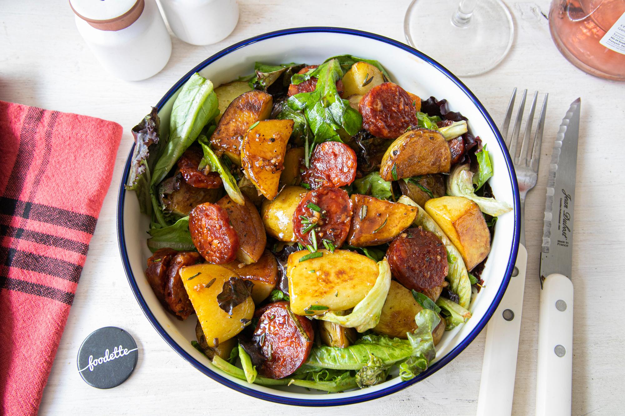 Salade de pommes de terre, Chorizo et romarin