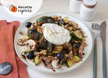 L'automnale : courgettes rôties, champignons, noix et Burratina