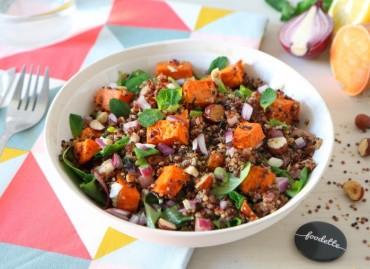 Salade multicolore à la patate douce rôtie
