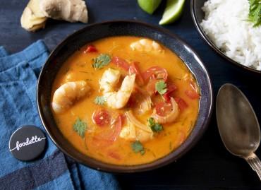 Soupe thaï de crevettes au lait de coco