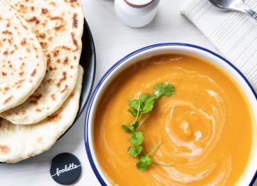 Velouté curry/coco et pains naans maison