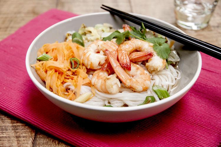 Soupe de nouilles aux crevettes spicy