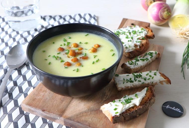 Douceur d'hiver, pois chiches grillés et tartines de fromage frais