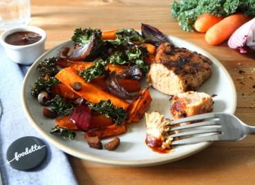 Dinde fermière aux épices trappeur et légumes rôtis au sirop d'érable