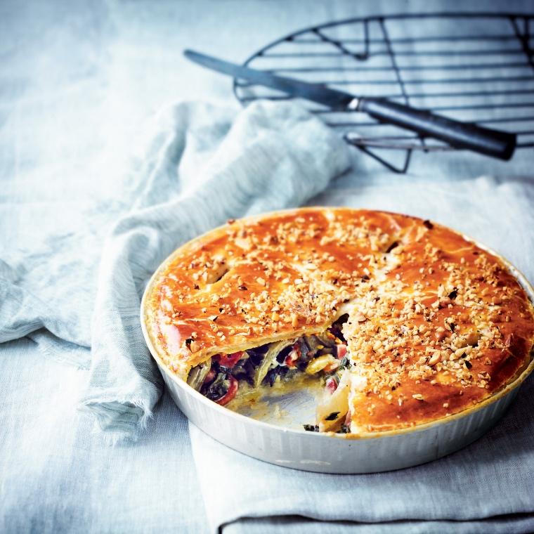 Tourte aux blettes, jambon sec et Grana Padano