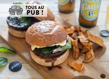 Portobello burger and sweet potato wedges