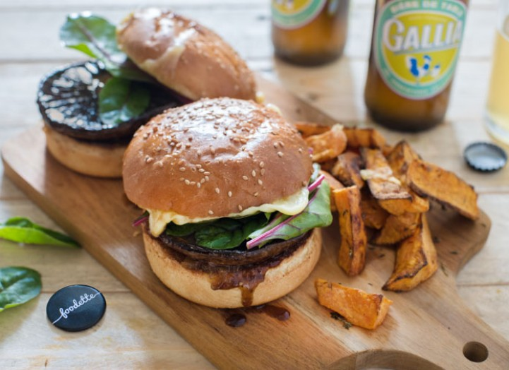 Portobello burger and sweet potato wedges
