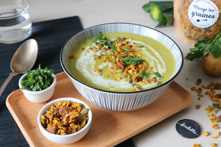 Velouté poireau-curry-coco et granola artisanal
