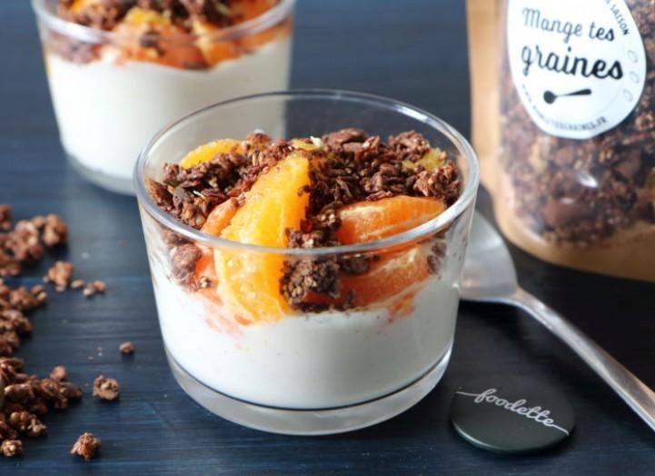 Verrines survitaminées et granola cacaoté