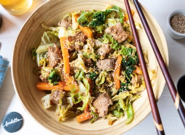 Wok de porc au gingembre et légumes de saison