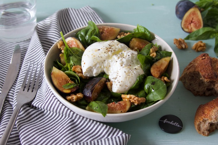 salade-épinards-burrata-figue-noix